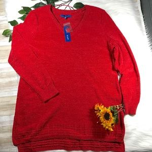 Apt 9 Tango Red Chenille Tunic Sweater XXL NWT
